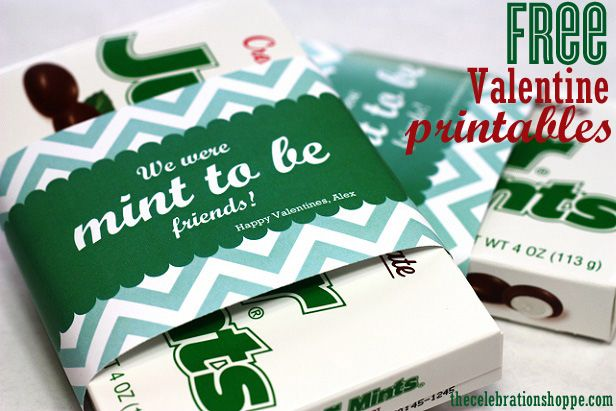 "We were ""mint to be"" friends! Free Valentine printables you can personalize before you print 