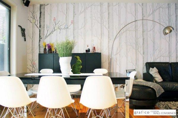 Custom Digital Print Wallpaper - Birch Tree Lounge Room Feature Wall