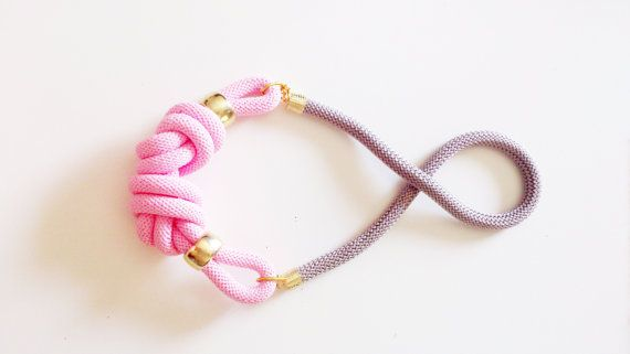 Handmade statement necklace with nautical knots in pink by bizeli
