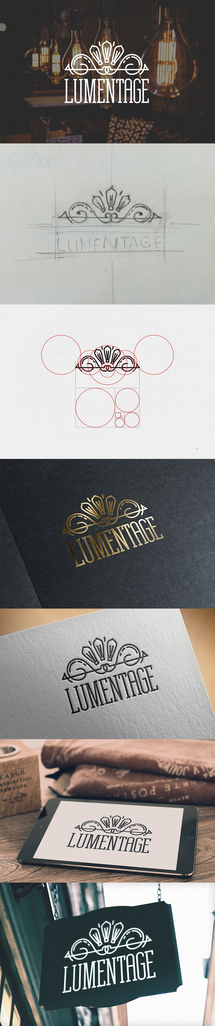 Logo Lumentage brand id identity graphic design golden ratio illumination Edisson bulb hand-drawn logo inspiration https://www.behance.net/gallery/46789843/Logo-Lumentage