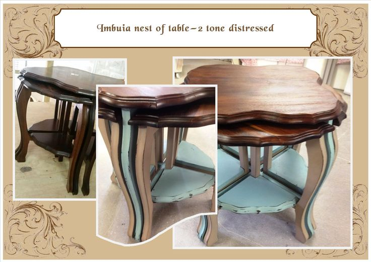 Nest of tables - distressed 2 tone