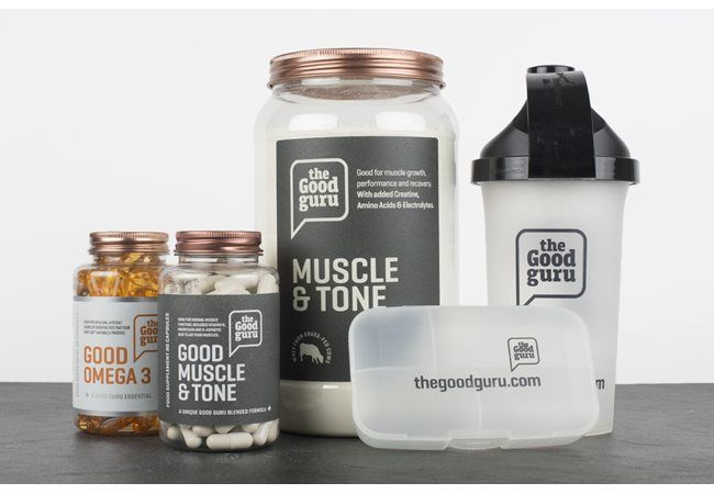 The Good Guru Fit Kit is a compilation of specially selected products to help you achieve your lean muscle goals.  The Fit Kit includes:  • Muscle & Tone Whey protein -  • Good Muscle & Tone capsules • Good Omega 3 capsules