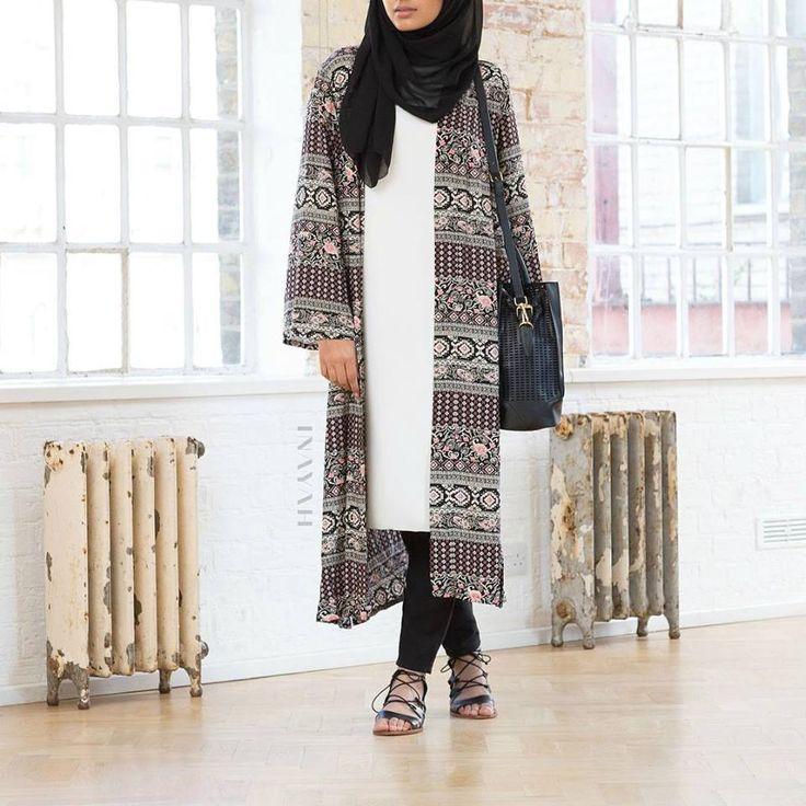 INAYAH | Black Georgette #Hijab + White Crepe #Midi  Tribal Print Maxi #Kimono + Black Tapered #Trousers  www.inayahcollection.com