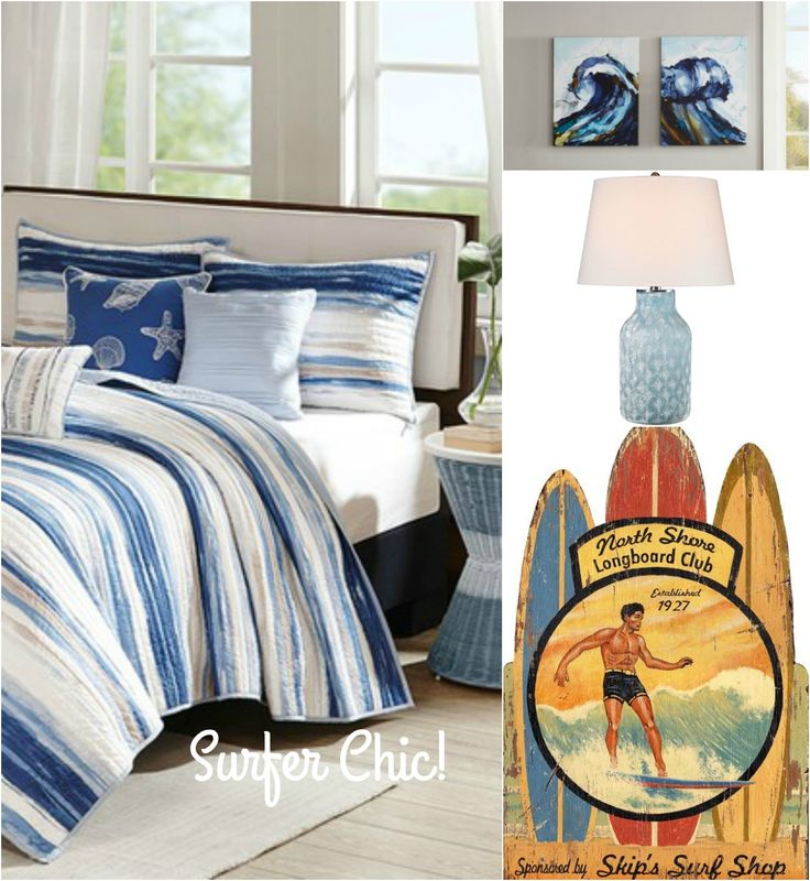 "Get the Look - Surfer Chic! Casual, with a little bit of ""beach bum"" thrown in, we love this classic surfing style decorating look!"