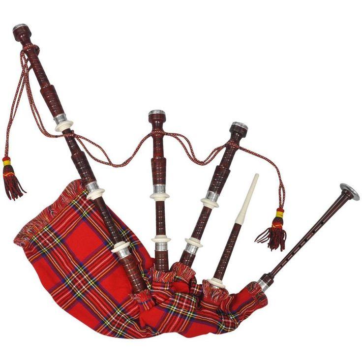 Scottish Bagpipe Red Wind Instrument Highland Royal Steward Tartan Gaita Folk Uk