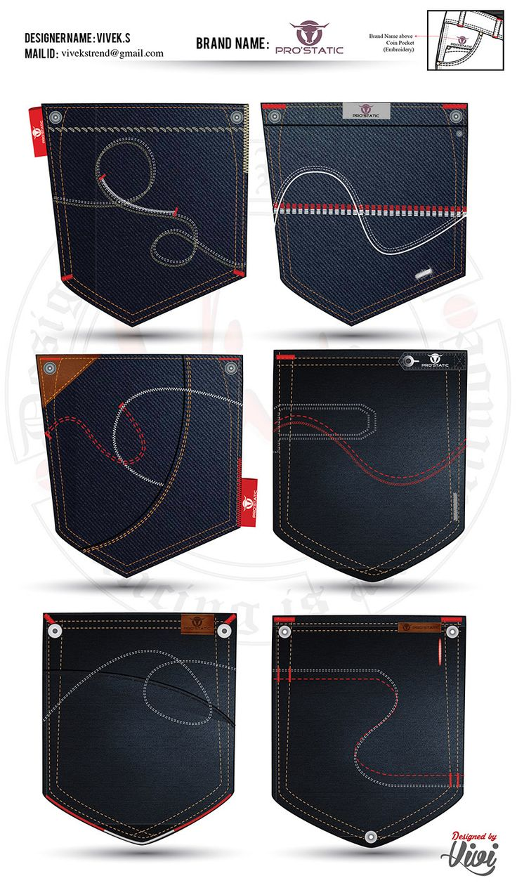 DENIM PANT POCKET DESIGNING on Behance - ambitious but good to see some ideas and the kind of things that are possible