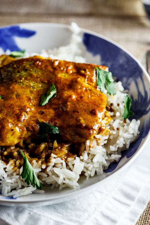 Curried baked hake. #fish #dinner #recipe