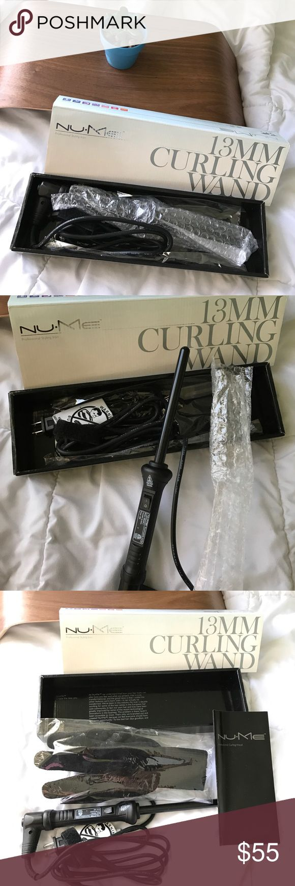 NuMe Curling Wand 13mm Professional styling iron. Nu•Me brand. 13mm. Includes heat protection gloves. Never used, has been in storage for a while, and have no need for it. $65 value. Reasonable offers considered. No trades sorry NuMe Other