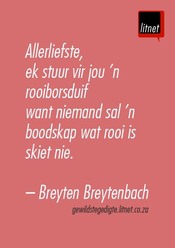 """""""Allerliefste, ek stuur vir jou 'n rooiborsduif"""" - Breyten Breytenbach                                                                                                                                                                                 More"""