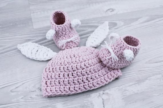 Baby Girls Cream And Beige Crochet Beanie Hat And Booties 0-3 Months