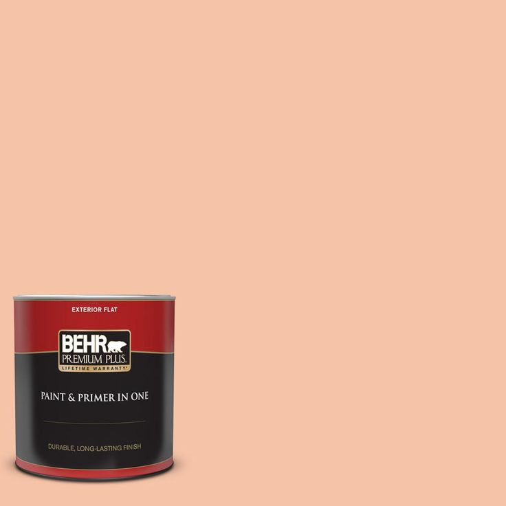 Behr Premium Plus 1 Qt 240c 3 Peach Damask Flat Exterior Paint And Primer In One 405004 The Home Depot Behr Marquee Behr Marquee Paint Exterior Paint