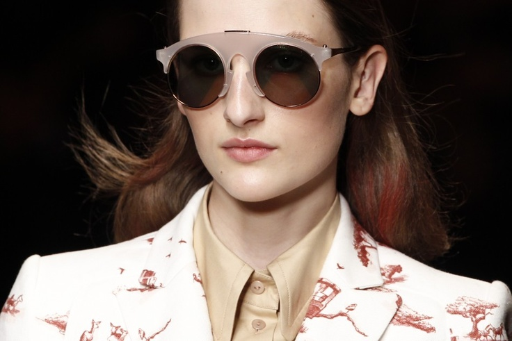 The circle glasses are in this season. | #PRFW | #SS13 | #Carven | #glasses