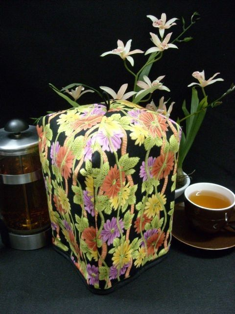 French Press Cozy - Tropical Flowers - Standard 8 Cup Coffee / Tea Press, $24.95