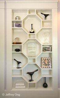 Think this might be what replaces my old shelves in my family room!  Luxurious, Comfortable Celebrity Interior Design Los Feliz Georgian  #beautifulshelving