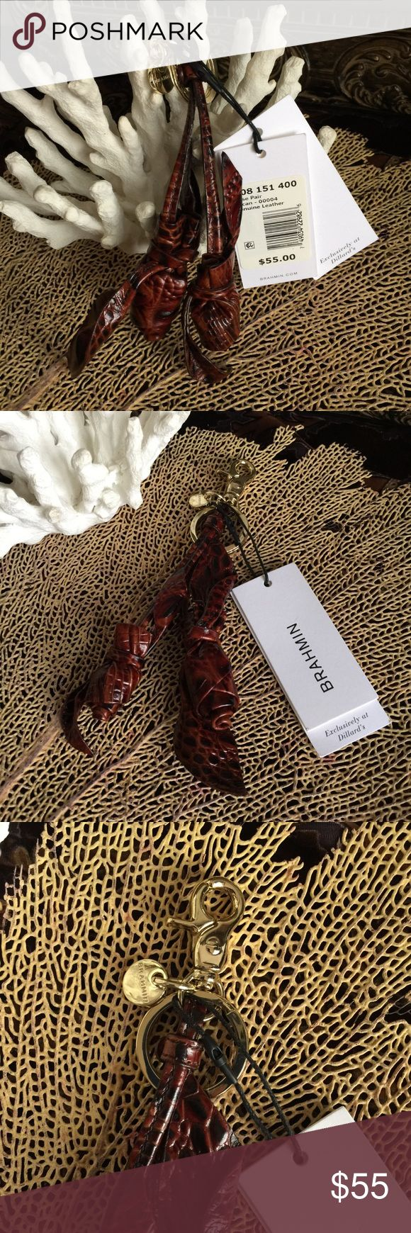 🌴🌴BRAHMIN PECAN LEATHER ROSE PAIR CLIP ACCESSORY Great Brahmin accessory for your purse or keys! NWT Pecan leather rose pair. Easy Clip-on. Approximately 7 inches long. Price is firm. Brahmin Accessories Key & Card Holders