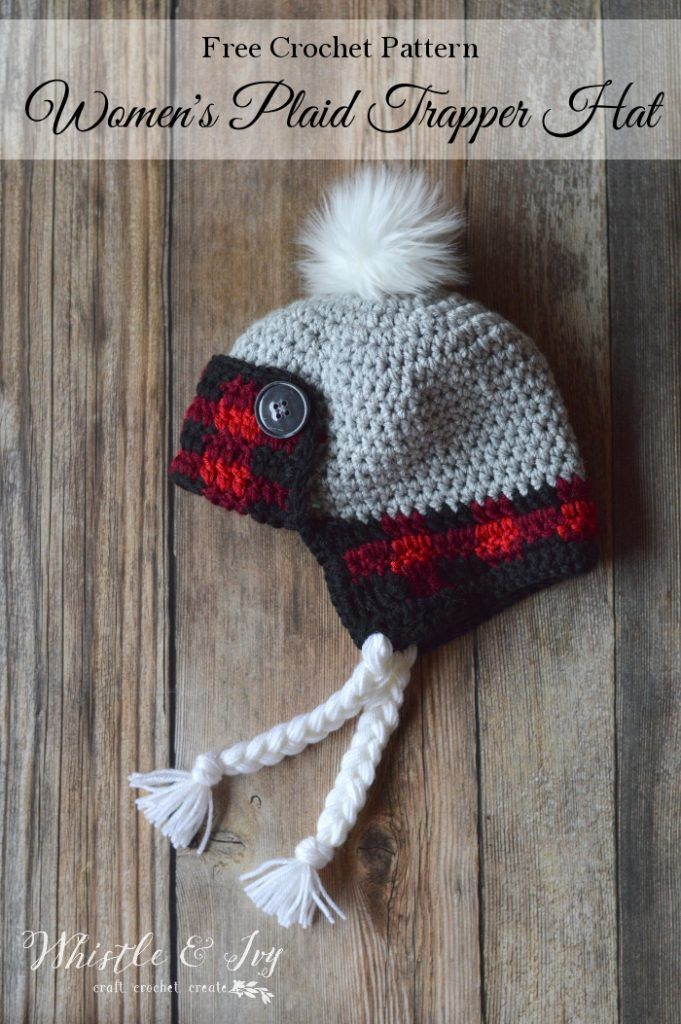 c5a55783581f95 FREE Crochet Pattern: Women's Crochet Plaid Trapper Hat | This cozy buffalo  plaid hat is worked with two strands so it's very warm and cozy!
