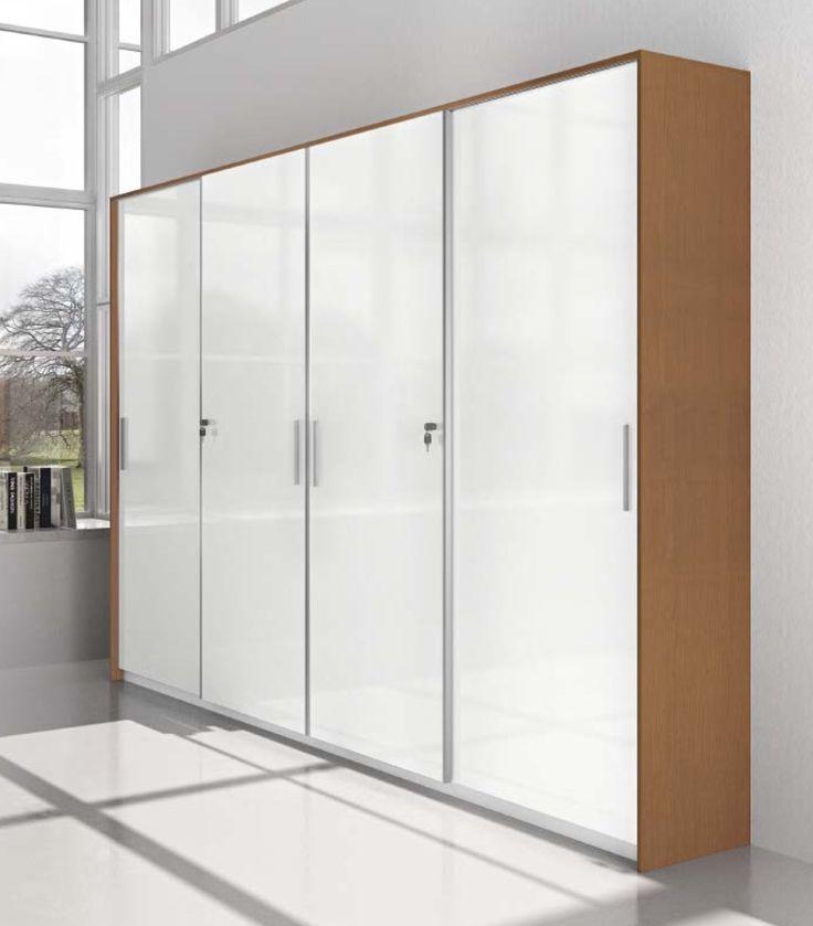 cod. CA062 - #armadio #archivio con ante scorrevoli miste in laccato lucido (laterali) e vetro (centrale). Richiedi preventivo ora!!!