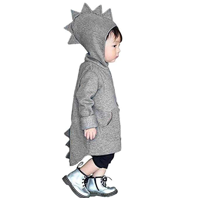 Miiyana Baby Girls Boys Winter Hooded Fleece Jacket Coat Cartoon Dinosaur Zipper Outwear