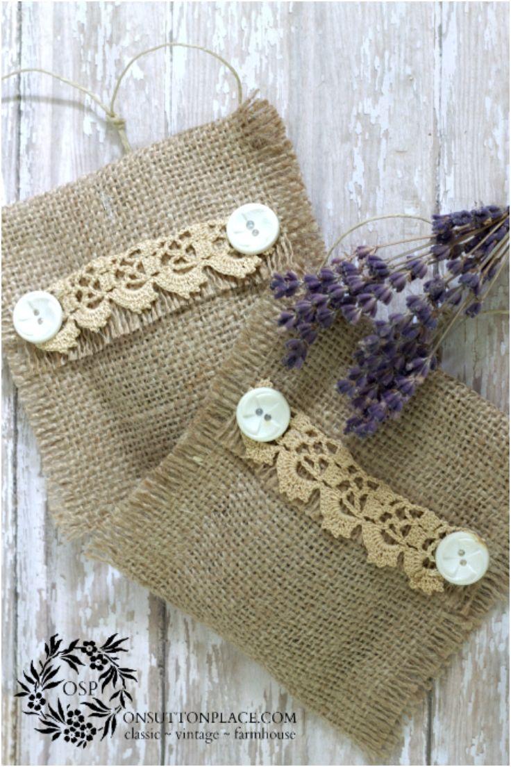 No Sew Burlap Lavender Sachets