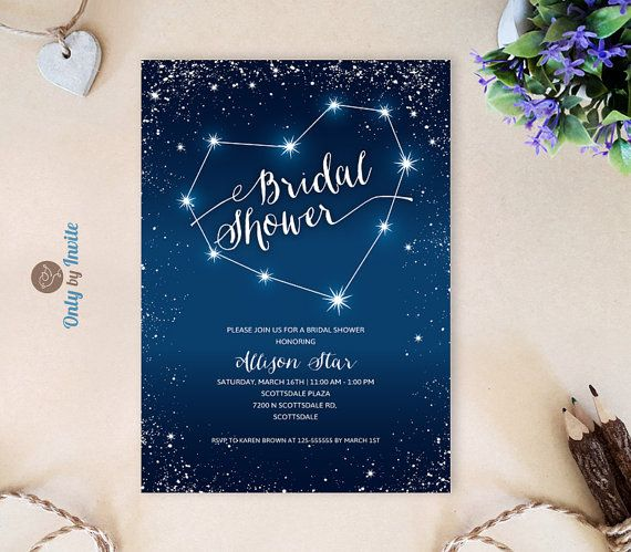 Starry Wedding Shower Invitations Cheap | Evening Bridal Shower Invitations  Printed On Shimmer Paper | Star