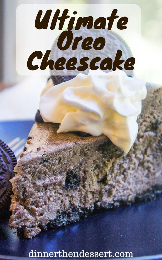 Oreo Cheesecake in its classic perfect form with an Oreo crust, crumbs in the batter and cookie pieces throughout. This is an epic cheesecake that any Oreo cookie fan will LOVE.