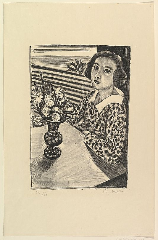 Seated Young Woman with a Bouquet of Flowers Henri Matisse (French, Le Cateau-Cambrésis 1869–1954 Nice) Date: 1923