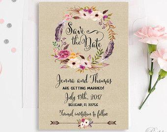 Druckbare speichern das Datum Karte rustikalen speichern die Datum Vorlage DIY Vintage Hochzeit Einladung druckbare Kraft Hochzeit Blumen speichern unser Date