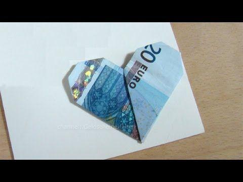 Geldscheine falten: Herz - YouTube