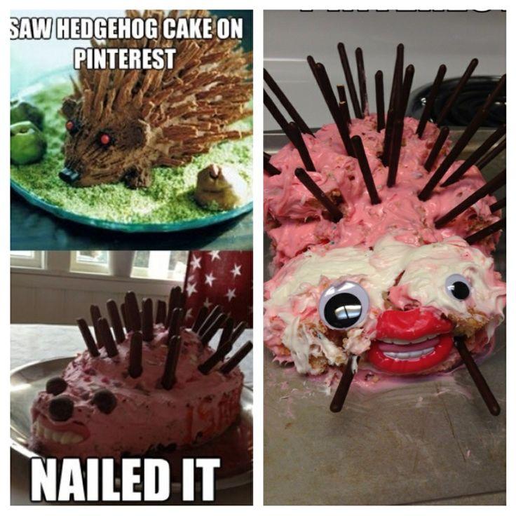 Pinterest fail of a fail Hedgehog cake, Cake fails