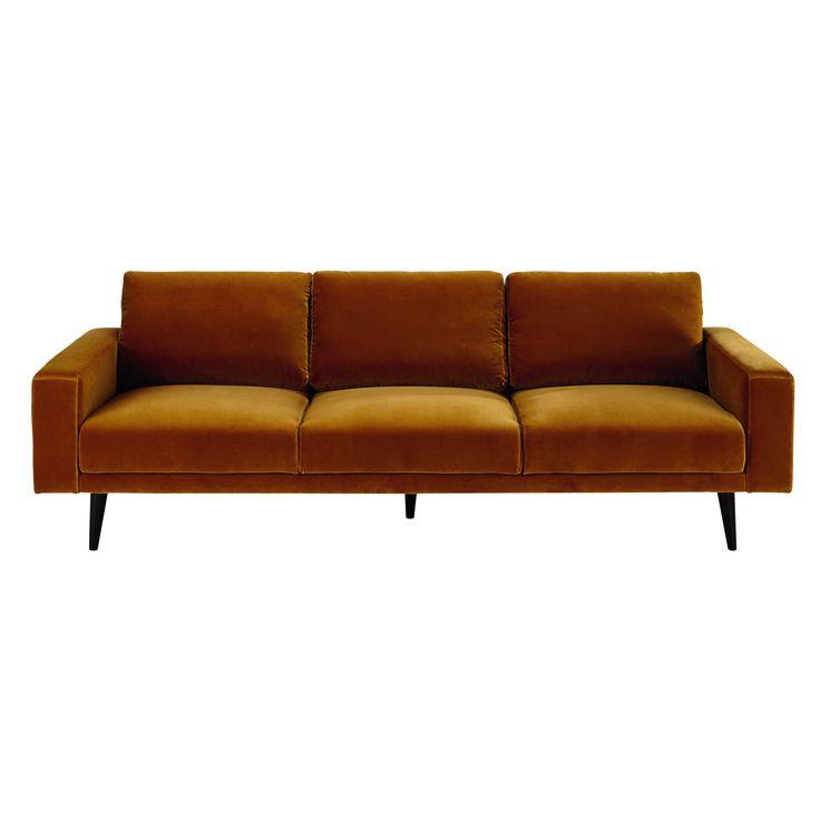 4 seater velvet sofa in mustard yellow Clark