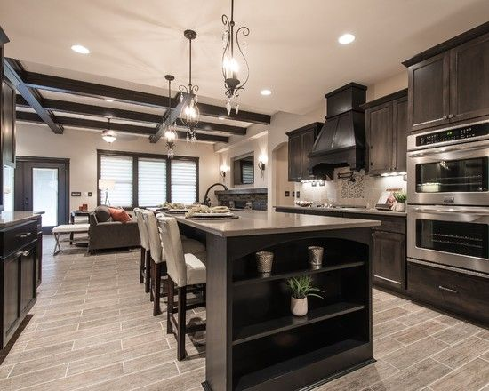 new wallets for men Florida Tile for Your Flooring Inspirations  Amazing Transitional Kitchen With Black Cabinetry And Grey Florida Tile Also Cute Pendants   jangrue com Decorating Inspiration