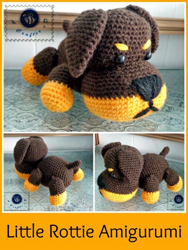 FREE crochet pattern for a Little Rottie Amigurumi by Maz Kwok's Designs.