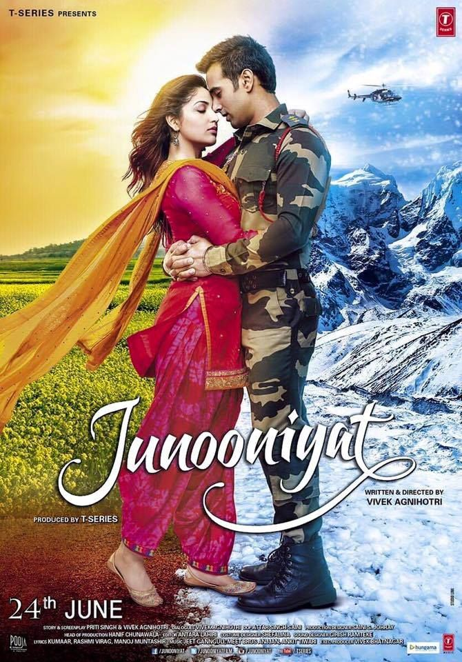 Junooniyat is an upcoming romantic Bollywood film written and directed by Vivek Agnihotri. it features Pulkit Samrat and Yami Gautam in the lead roles. Music is composed by Ankit Tiwari, Meet bros and Jeet Ganguly. The release date of Pulkit Samrat and Yami Gautam starrer Junooniyat has once again been shifted. The romantic love story will now be releasing on 24th June, 2016. Yami Gautam posted a release date poster on facebook.   Junooniyat: WoodsDeck