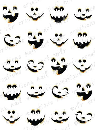 20 Halloween Nail Decals JACK O LANTERN FACES Choose Cute or Scary Water Slide Decals Pumpkin on Etsy, $2.25