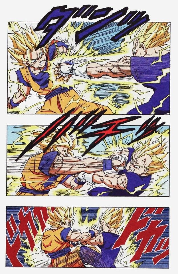 #19 Majin Vegeta vs. Goku (in color from the manga) The rematch of centuries. Being on this part of the list doesn't mean I don't like it. I loved seeing The Prince of Saiyans return to fight Goku and intended to win. The whole fight was just plain amazing. #Wolfthekid