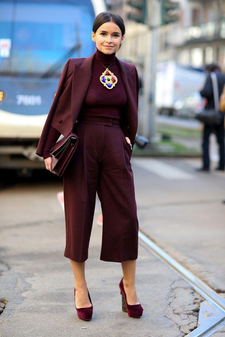 Miroslava Duma was a vision in burgundy. #StreetStyle #MFW Fall 2014