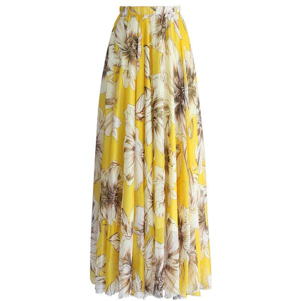 Chicwish Marvelous Floral Maxi Skirt in Yellow (6735 RSD) ❤ liked on Polyvore featuring skirts, saia, multi, yellow skirt, floral cami, yellow cami, long maxi skirts and polyester camisole