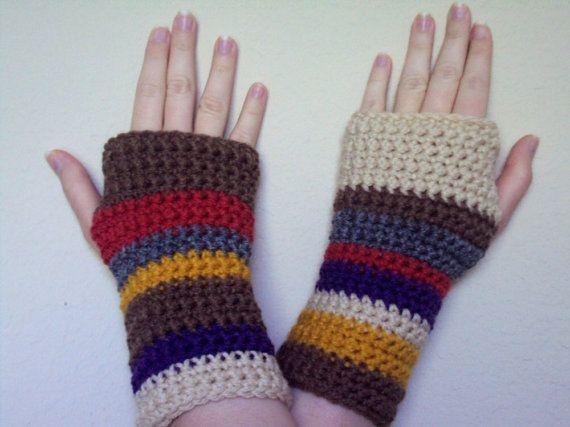 For my Dr Who fans! Crocheted Doctor Who Inspired Tom Baker Scarf Fingerless Gloves / Wrist Warmers - Women's