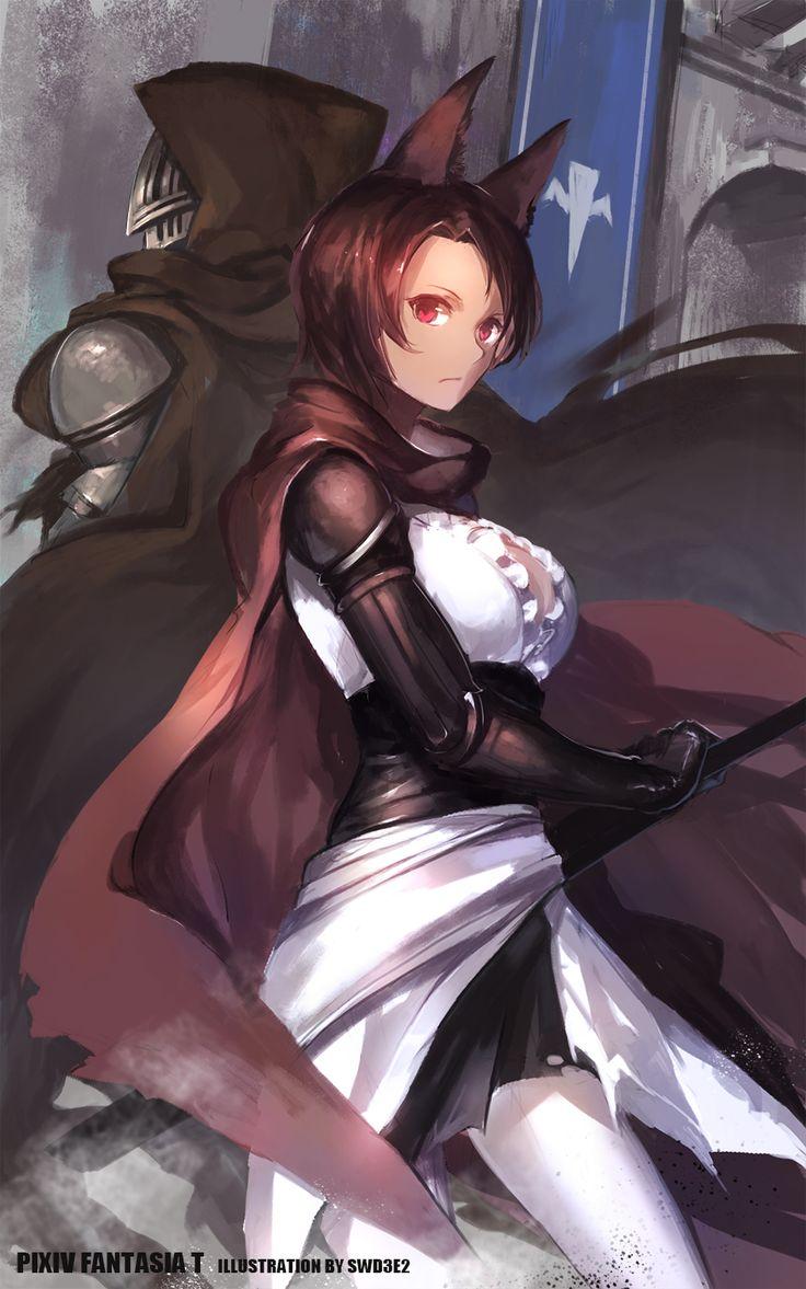 Swordswoman Kitsune Fox Ears Knight Pixiv Player