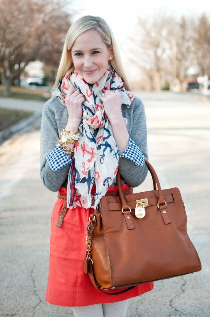 Prepping for Warming Weather: Anchor Scarves, Gingham and Bright Orange Skirts | Kelly in the City: Style and Fashion