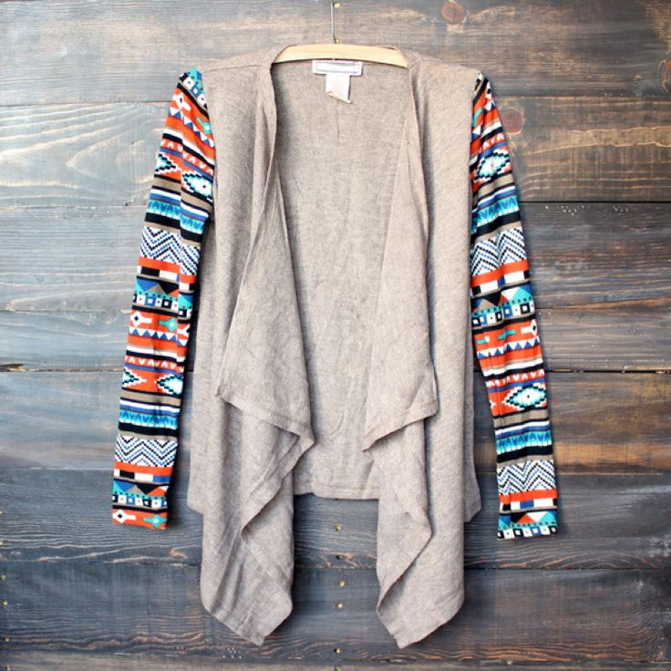 womens lightweight open front cascading cardigan with aztec print sleeves - taupe