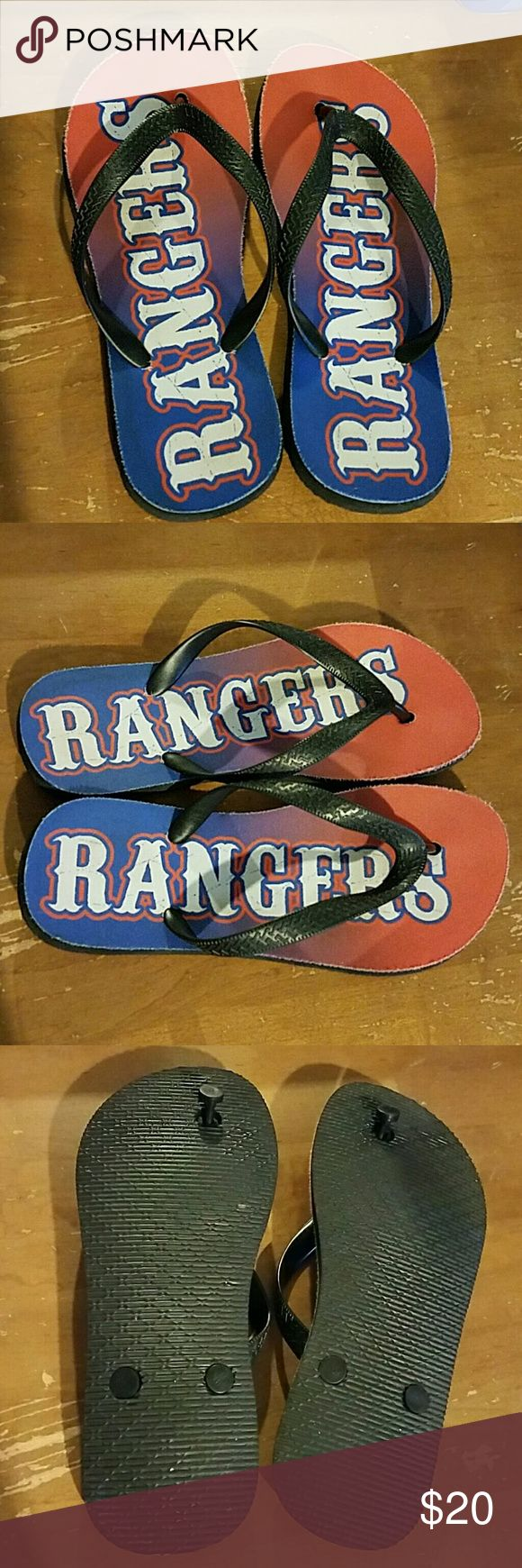 "Texas Rangers Flip Flops Texas Rangers Flip Flops, Red, Blue and white. Distressed look. Cloth on top. Size ""Medium"" best fits any size from 8 to 10. Shoes Sandals"