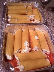 ---FREEZER Three Cheese Manicotti---  2 cups cottage cheese  1 ½ cups mozzarella cheese  1 ½ teaspoons Italian Seasoning  ¼ teaspoons salt  ¼ teaspoon pepper  1-8oz. package manicotti (do NOT cook!)  ½ cup mozzarella cheese and ¼ cup Parmesan cheese  Jar or can of favorite marinara sauce ( Hunts can)  cooking spray