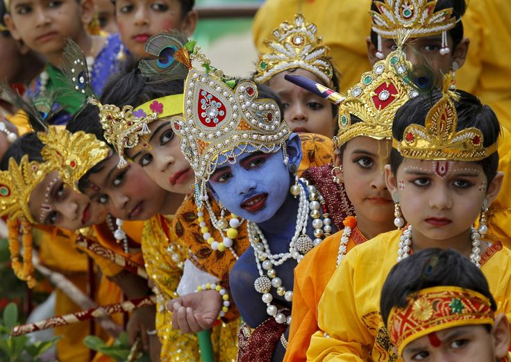 Krishna Festival <>  Schoolchildren dressed as Hindu Lord Krishna wait to perform during celebrations on the eve of the Janmashtami festival in Chandigarh, India, on Sept. 4, 2015. The festival, which marks the birth anniversary of Lord Krishna, will be celebrated across India on Saturday.