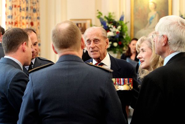 Prince Philip, Duke of Edinburgh meets veterans and serving RAF personnel during a pre-lunch reception at the RAF Club to commemorate the 75th Anniversary Of The Battle Of Britain on July 10, 2015 in London, England.