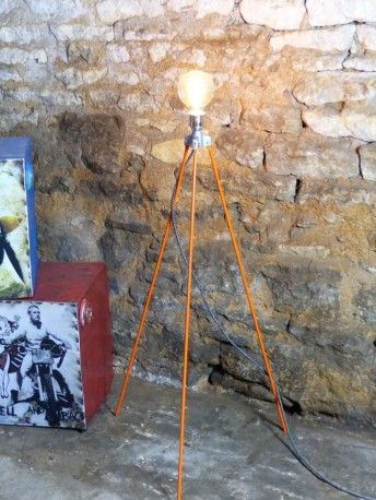 Upcycled Tripod Surveyors industrial vintage style Lamp. One off  floor Lamp purposely designed for BBC1's Money for Nothing TV show, series 2. By forge creative available at Smithers of Stamford