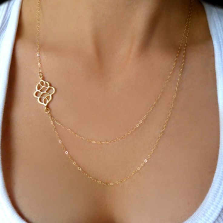 Double hollow out auspicious chain Necklace Gold Delicate Y Necklace, Gold V Necklace, Tiny long Necklace   XL153