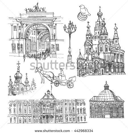 Saint Petersburg. Vector sketch old town. Hand drawn public and religious buildings, urban elements.
