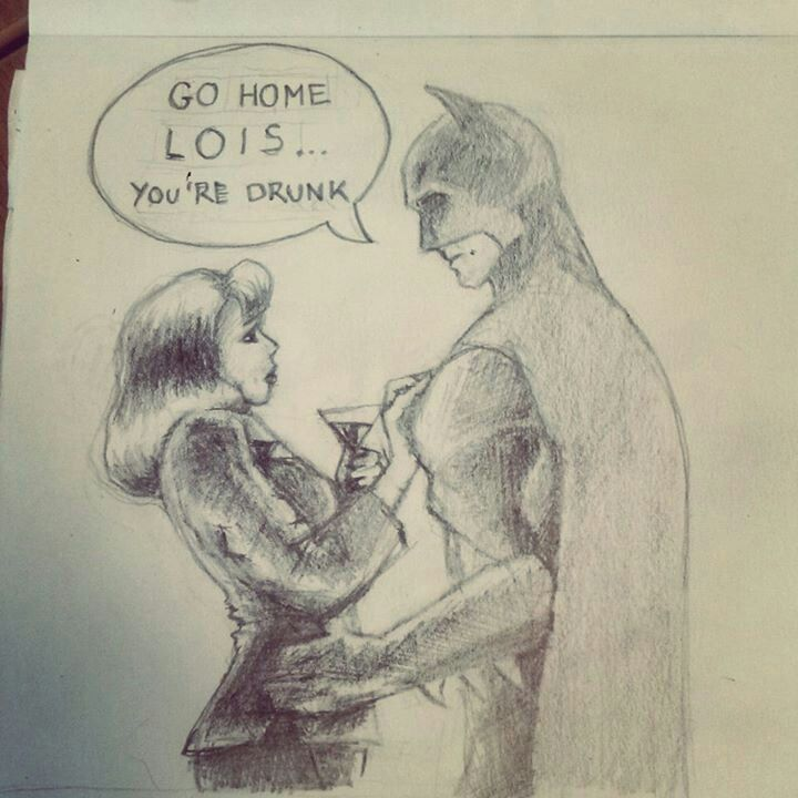 """Lois Lane & Batman"" humorous pencil sketch."
