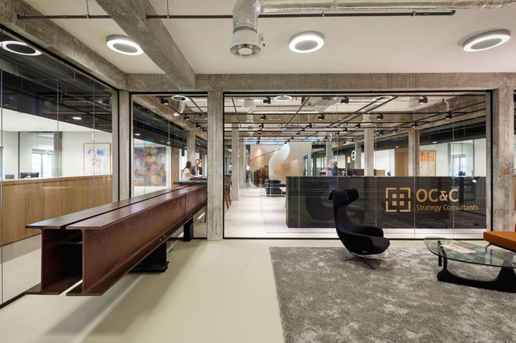 A huge I-Beam was taken from a bridge and included in this office design